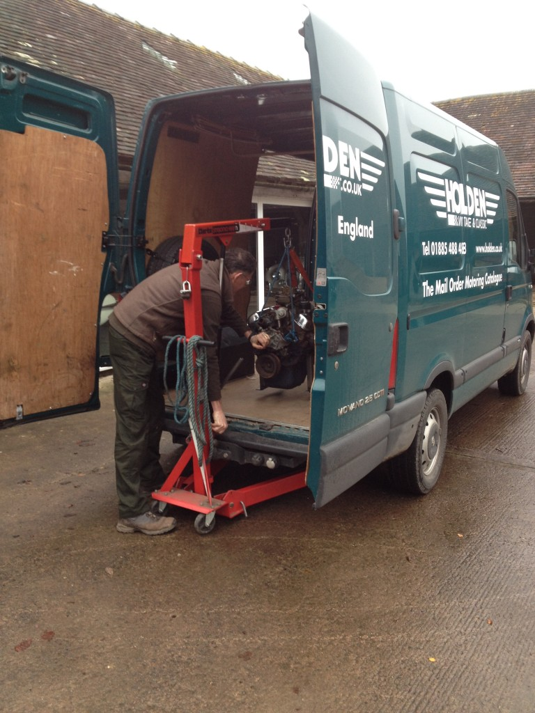 Loading the engine onto the HVC van
