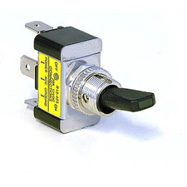 Toggle Switch with Black Lever and LED Indicator - Green