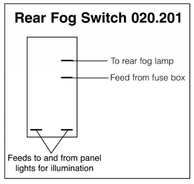 Rear Fog Rocker Switch Off-on