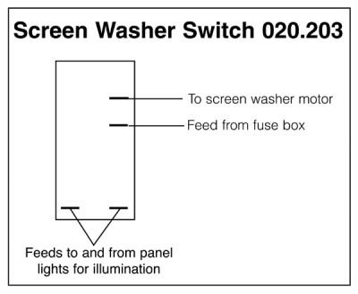Windscreen Washer Rocker Switch Push on