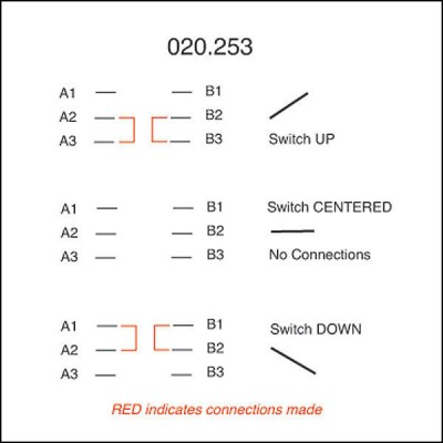 Toggle Switch - On-Off-On with Lucas Lever - 6 Terminals