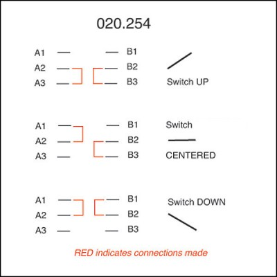 Toggle Switch - Off-On-On with Lucas Lever - 6 Terminals