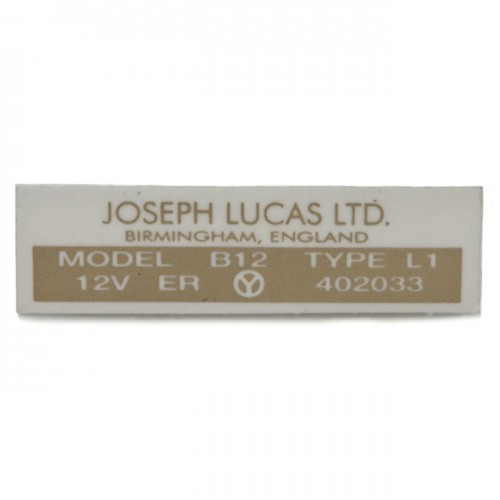 Lucas Type B12 coil label image #1