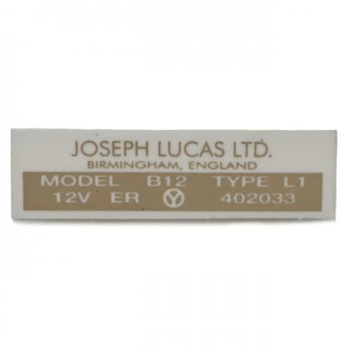 Lucas B12 coil label image #1