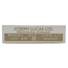 Lucas B12 coil label