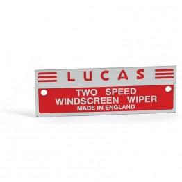 Wiper Motor Nameplate 'Lucas Two Speed etc'