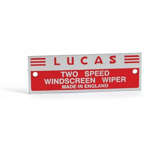 Wiper Motor Nameplate 'Lucas Two Speed etc' image #1