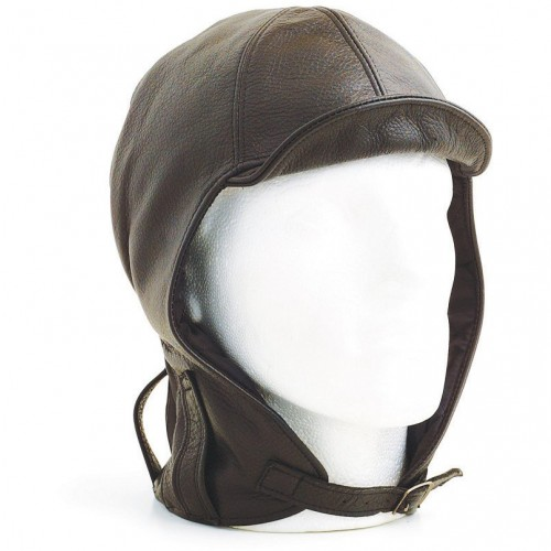 Hurricane Long Neck Leather Flying Helmet (Brown) image #1