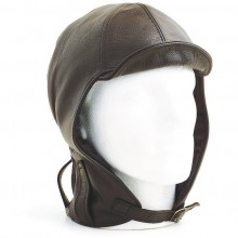 Hurricane Long Neck Leather Flying Helmet (Brown)