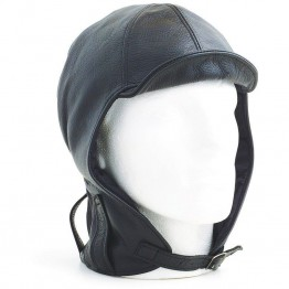 Hurricane Long Neck Leather Flying Helmet (Black)