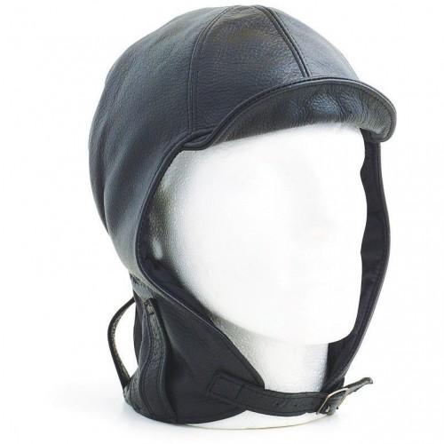 Hurricane Long Neck Leather Flying Helmet (Black) image #1