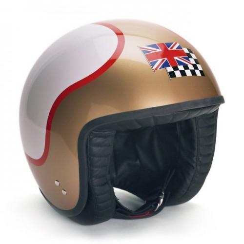 Davida De-luxe Jet Helmet - White/Gold/Red XS image #1