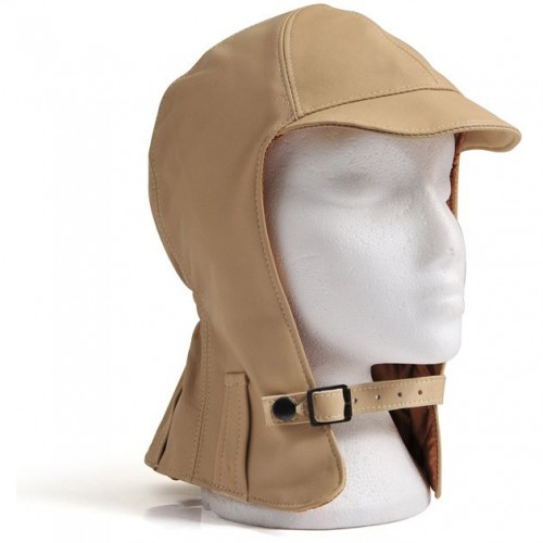 Hurricane Long Neck Leather Flying Helmet (Beige) image #1