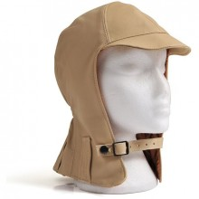Hurricane Long Neck Leather Flying Helmet (Beige)