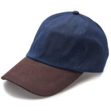 Wax Leather Peak Baseball Cap by Jack Murphy - Navy