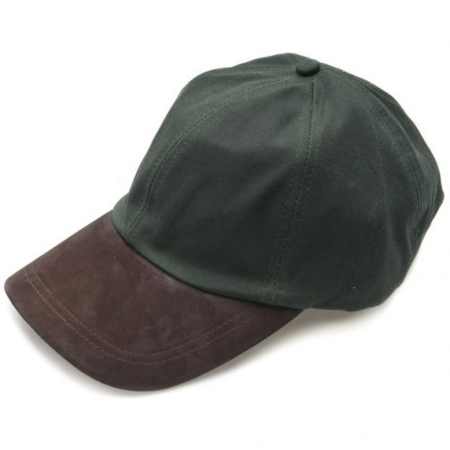 Wax Leather Peak Baseball Cap by Jack Murphy - Olive image #1