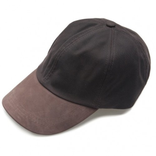 Wax Leather Peak Baseball Cap by Jack Murphy - Brown image #1