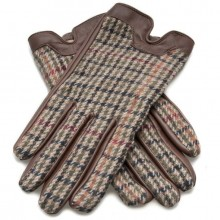 Dents Ladies Leather/Tweed Gloves - Chestnut