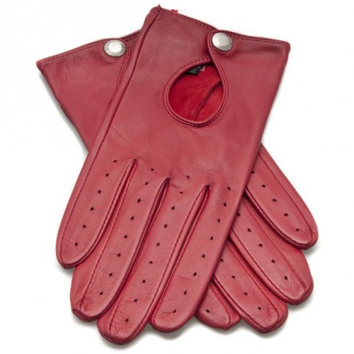 Dents Ladies Driving Gloves with Keyhole Back - Berry image #1