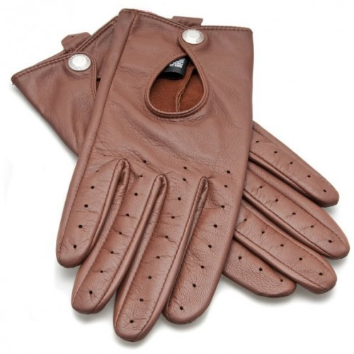 Dents Ladies Driving Gloves with Keyhole Back - Cognac image #1