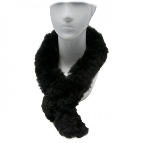 Alpaca Fur Scarf - Black image #1