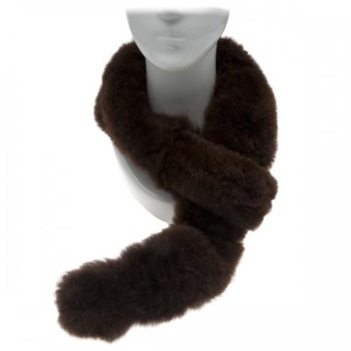Alpaca Fur Scarf - Dark Brown image #1
