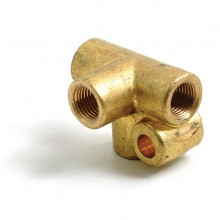 Brass 3/8 in UNF 4-Way Connector for 3/16 in Pipe