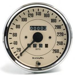 Smiths Classic 100mm Speedometer 0- 260kph - Mechanical - Magnolia