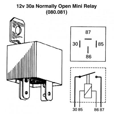 12v 30a Normally Open Mini Relay