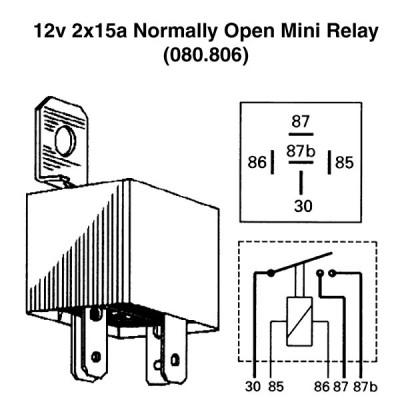 12v 2x15a Normally Open Mini Relay