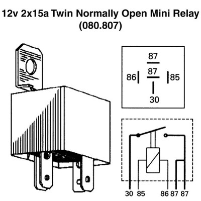 12v 2x15a Twin Normally Open Mini Relay