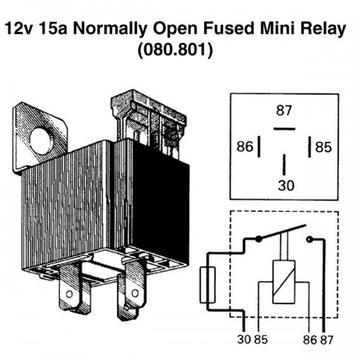 12v 15a normally open fused mini relay for vintage and classic cars