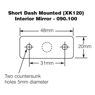 Dash Mounted Interior Mirror - Short - XK120