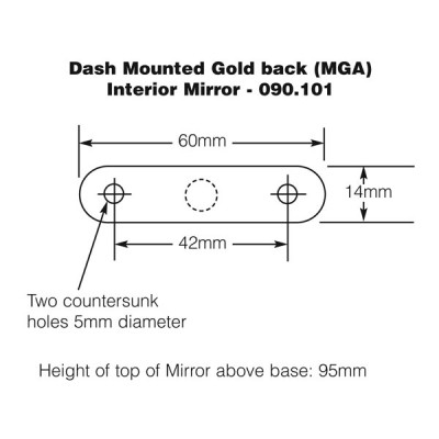 Dash Mounted Interior Mirror - Chrome & Gold