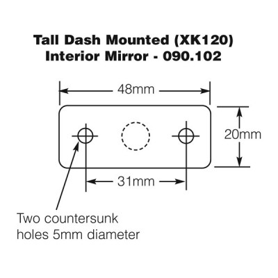 Dash Mounted Interior Mirror - Tall - XK120