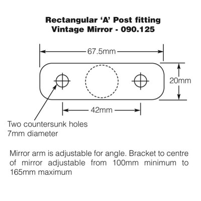 Rectangular 'A' Post Fitting Vintage Mirror