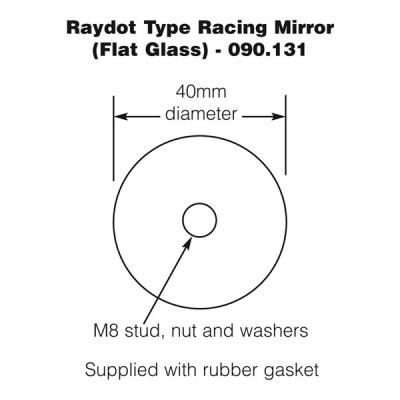 Raydot Type Racing Mirror - Flat Glass - Polished Aluminium