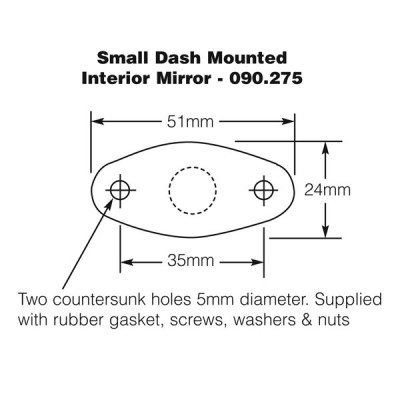 Dash Mounted Interior Mirror - Small