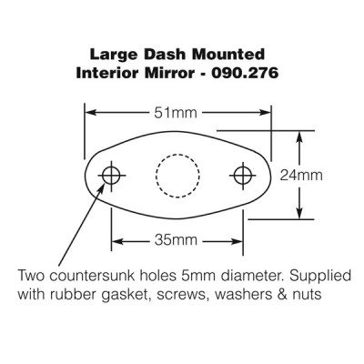 Dash Mounted Interior Mirror - Large