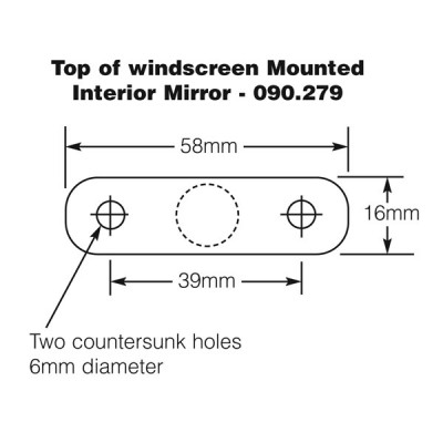Dash or Top of Windscreen Mounted Interior Mirror