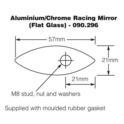Racing Mirror - Aluminium/Chrome - Flat Glass