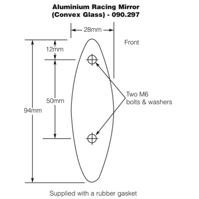 Aluminium Racing Mirror - Convex Glass