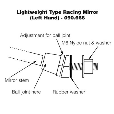 Lightweight Racing Type Mirror - Left Hand