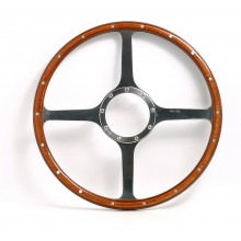 Classic 4 Spoke 14in Wood Rim Steering Wheel - Flat