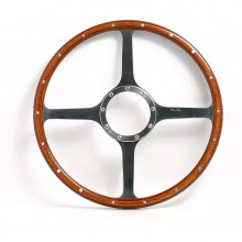 Classic 4 Spoke 15in Wood Rim Steering Wheel - Flat