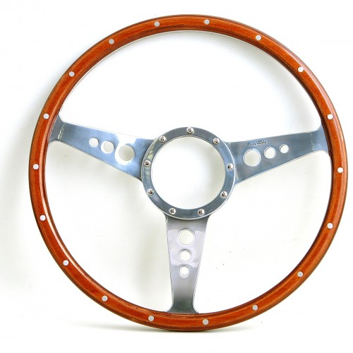 Mark 3 (Holes) 14in Wood Rim Steering Wheel - Dished image #1