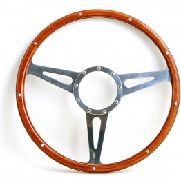 Mark 3 (Slots) 15 in Wood Rim Steering Wheel - Flat