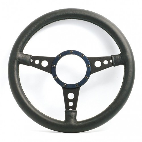 Mark 4 (Holes) Flat 14 in Leather Rim Steering Wheel (Black) image #1