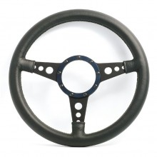 Moto Lita Mark 4 Leather Rim Steering Wheel. Black Spokes With Holes - 14 Inch Flat