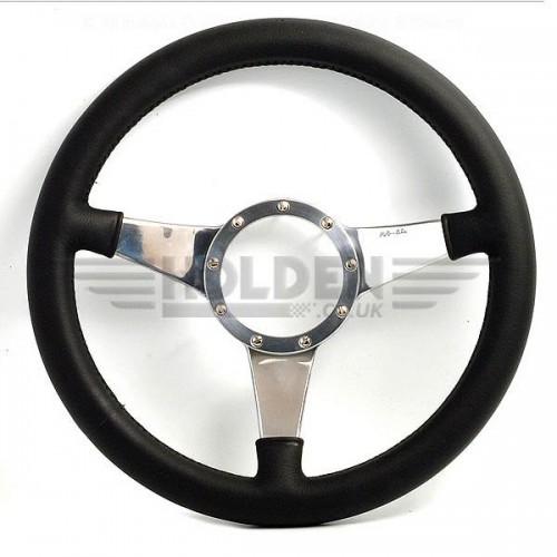 Moto Lita Mark 4 Leather Rim Steering Wheel With Solid Spokes - 11 Inch Flat image #1